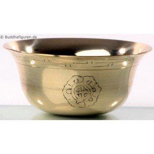 Buddhist Offering Bowls carved Brass 9cm