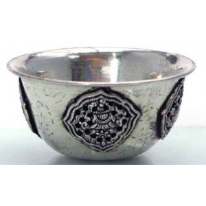 Buddhist Offering Bowls silver-platted brass