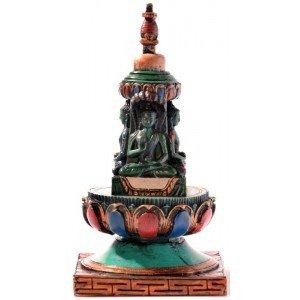 Stupa - Chörten 15 cm Resin turquoise painted