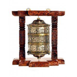 Wall Prayer wheel 20 cm long copper, wooden frame