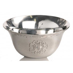 Buddhist Offering Bowls carved Brass Silvern 7,5cm
