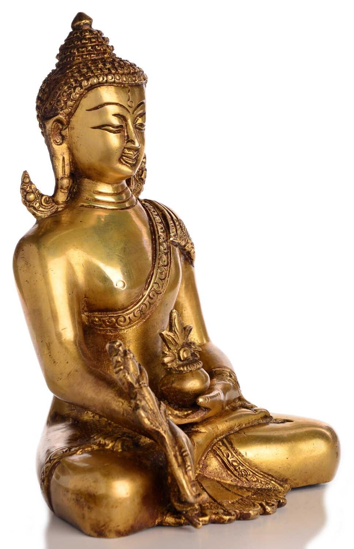 medizin buddha statue messing 20 cm aus indien kaufen. Black Bedroom Furniture Sets. Home Design Ideas