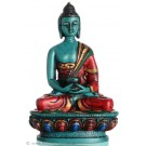 Amitabha Buddha Statue Resin 11,5 cm turquoise coloured