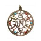 Tibetan Om brass Pendant  4 cm