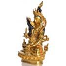 Vajrasattva Dorje Sempa in Vereinigung mit Vajragarvi Statue sitzende Position in der linken Seitenansicht