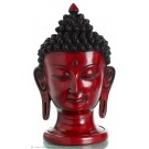 Buddha head  29,5 cm resin red-brown