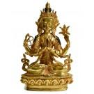 Avalokiteshvara - Buddha Statue Entirely Fire Gilded 22,5 cm Upscale Quality