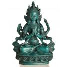 Avalokiteshvara - Chenrezi 15 cm Buddha Statue Resin turquoise