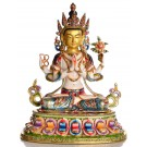Avalokiteshvara - Buddha Statue Entirely Fire Gilded and painted 40cm