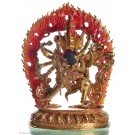 Chakrasambhava 22,5 cm partly gilt Buddha Statue