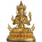 Avalokiteshvara - Buddha Statue Entirely Fire Gilded 47cm