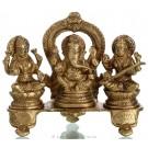 Ganesh Lakshmi Saraswati Statue aus Messing