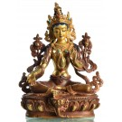 Green Tara 15 cm partly gold plated