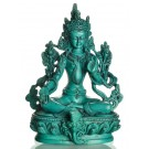 Green Tara Statue 15 cm Resin turquoise