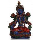 Green Tara Resin 21cm Blue Painted