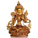 Green Tara 22 cm partly gold plated