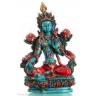 Green Tara Resin 21cm Turquoise Painted