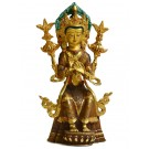 Maitreya 24 cm partly fire gold plated