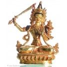 Manjushri 14,5 cm fully gold-plated Buddha Statue