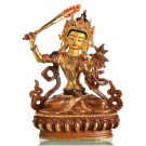 Manjushri 17 cm partly fire gold-plated Buddha Statue