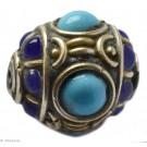 Brass - Glass Beads blue 19mm 1pc