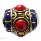 Brass - Glass Beads red 19mm 1pc