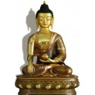 Akshobhya 32 cm partly gold plated Buddha Statue