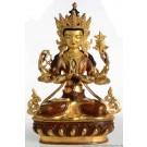 Avalokiteshvara Chenrezi 33 cm partly gilt Buddha Statue