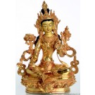 Green Tara 22 cm fully gold plated