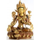 Green Tara 32 cm partly gold plated