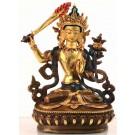 Manjushri 17 cm partly fire gold-plated Buddha Statue
