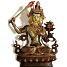 Manjushri 22 cm partly fire gold-plated Buddha Statue