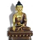 Akshobhya 19 cm partly fire gilded Buddha Statue