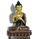 Vairocana 21 cm partly gold plated Buddha Statue