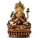 Avalokiteshvara - Chenrezi 16 cm partly gilt Buddha Statue