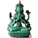 Avalokiteshvara - Chenrezi 20 cm Buddha Statue Resin turquoise