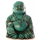 Laughing Buddha Statue 10 cm resin turqouise