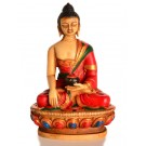 Akshobhya 11,5 cm Buddha Statue Resin colored red
