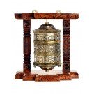 Wall Prayer wheel 20 cm long copper, wooden frame