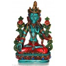 White Tara 15,5 cm Statue Resin turquoise painted