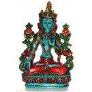 White Tara 20 cm Statue Resin turquoise painted